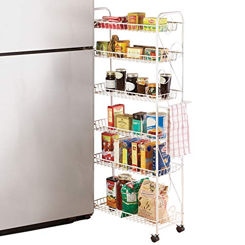 Slim Rolling Pantry 6-Tier Shelf, White Metal with Elegant Scroll Design Accent - Extra Kitchen and Bathroom Storage, 10