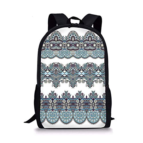 - School Bags Paisley Decor,Ethnic Floral Bordered Triplet Design with Stripes Dots and Circles Image,Blue and White for Boys&Girls Mens Sport Daypack