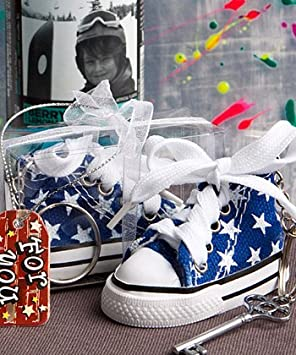 FASHIONCRAFT Oh-So-Cute Blue Star Print Baby Sneaker Key Chain , 144