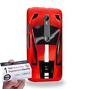 Case88 [Motorola Moto G (3rd gen)] 3D impresa Carcasa/Funda dura para & Tarjeta de garantía - Art Design Red Sport Car
