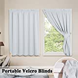 PONY DANCE Vertical Window Blinds - Room Darkening Thermal Pleated Curtains Drapes with Magic Strips Hook Loop for Bathroom Small Windows Easy Install, 40'' W by 54'' L, Greyish White, Pack of 2