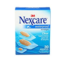 Nexcare Waterproof Clear Bandages, Assorted Sizes, 30 Count