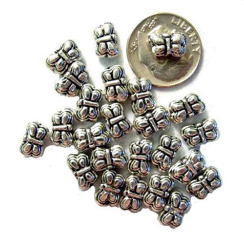 - 50 Antiqued Silver Plated Pewter Butterfly Beads 9MM