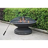 Outdoor Fire Pit with Pvc Cover, Antique Bronze