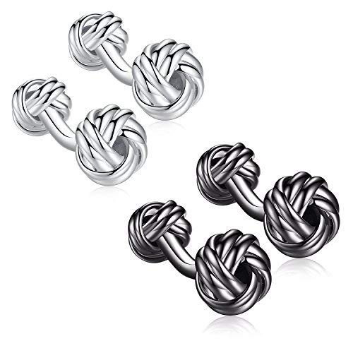 HONEY BEAR Twist Knot Cufflinks Steel for Mens Shirt Wedding Business Gift with Box