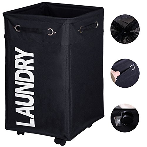 AcmeSoy Rolling Laundry Hamper 24'' with Handles and wheels| Collapsible Clothes Basket| Mesh Cover| Large Wheeled Storage (Large Wheeled Tote)