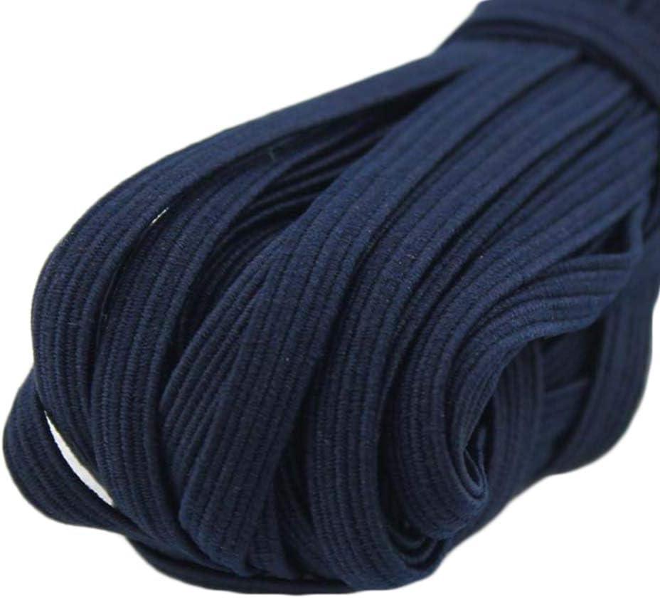 Azul, 30M,6mm vamei Goma Elastica Costura Cinta Elastica Goma Costura Blanco Negro Rollo Cuerda Elastica Cord/ón Elastico Costura 3mm 5mm 6mm para Coser Costura y manualidades