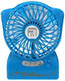 USB Portable Table Fan,ABURA Handheld Mini Fan Powered by By Lithium Rechargeable Battery,With LED Flashlight, For Travelling, Camping, Hiking,Climbing,Home And Office Portable Fan (Blue)