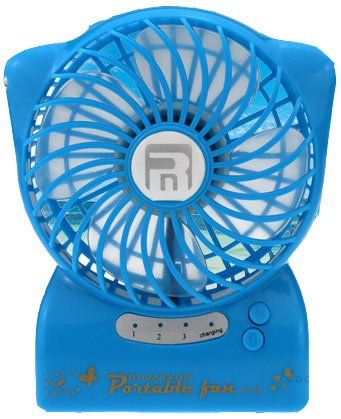 USB Portable Table Fan,ABURA Handheld Mini Fan Powered by By Lithium Rechargeable Battery,With LED Flashlight, For Travelling, Camping, Hiking,Climbing,Home And Office Portable Fan (Blue) by ABURA