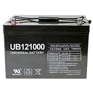 Universal UB121000-45978 12v 100AH Deep Cycle AGM Battery 12V 24V 48V(Black)