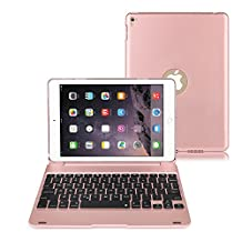iPad Air 2 / Pro 9.7 Keyboard case, kiwitatá Wireless Bluetooth Keyboard Hard Clamshell Protective Case Cover with Auto Sleep Wake for Apple iPad Air 2 / Pro 9.7 Rose Gold