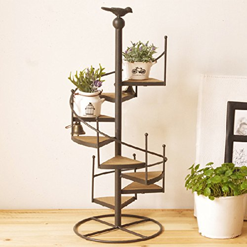 Iron flower racks balcony staircase plant stand multi-tier pot rack floor model modern simple creative for outdoor/indoor-100cm-B by Superflowerstand
