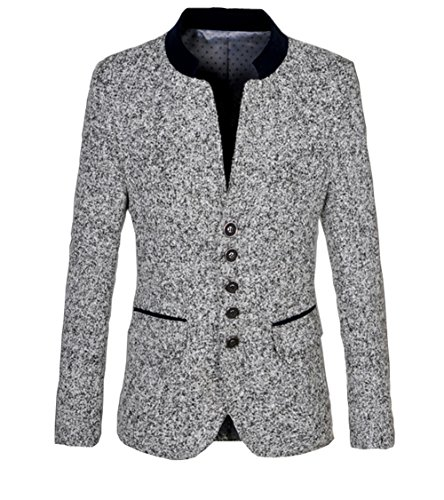 Groom Stand (Ouye Men's Stand Collar Light Gray Casual Jacket, Light Gray, US L - Chest 42