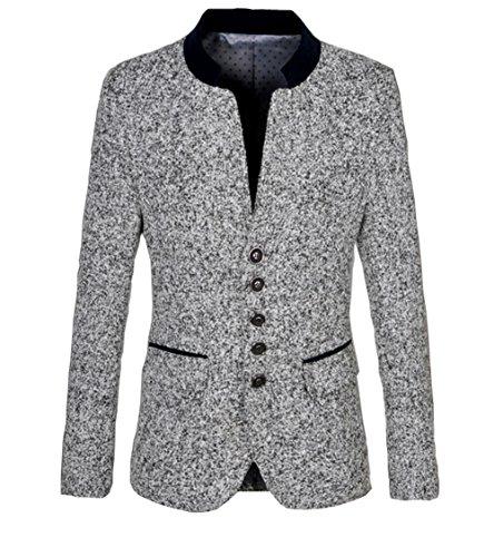 [Ouye Men's Stand Collar Light Gray Casual Jacket 2X-Large] (Gray Blazer Jacket)