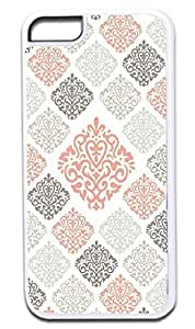 04-Large and Small Damasks-Pattern- Case for the APPLE IPHONE 5 ONLY!!! NOT COMPATIBLE WITH THE IPHONE 5c!!!-Hard White Plastic Outer Case with Tough Black Rubber Lining WANGJING JINDA