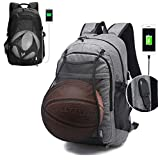 Travel Laptop Backpack,Viyear Water Resisitant College Bag with Basketball Carrying Net Slim Business Daypack Fit 15.6 Inch Computer with USB Charging Port for Women and Men Grey