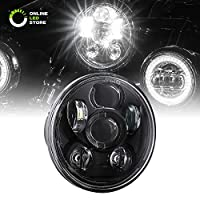 "5.75"" Round LED Headlight [Black Housing] [Projector] [3450 Lumens] Harley Davidson Motorcycle"