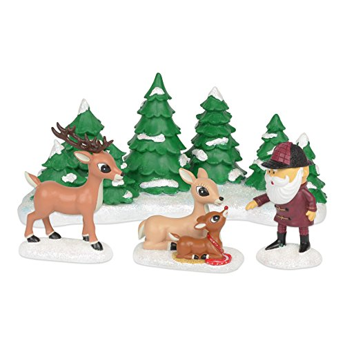Rudolph The Red Nosed Reindeer Set (Department 56 Rudolph the Red-Nosed Reindeer Meeting Santa Figurine, 4.25 inch (Set of 4))