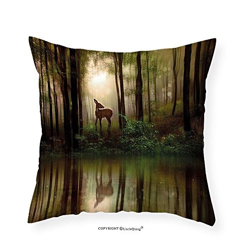 VROSELV Custom Cotton Linen Pillowcase Nature Baby Deer in the Forest with Reflection on Lake Foggy Woodland Graphic for Bedroom Living Room Dorm Fern Green Cocoa Brown - Woodlands Map Lake