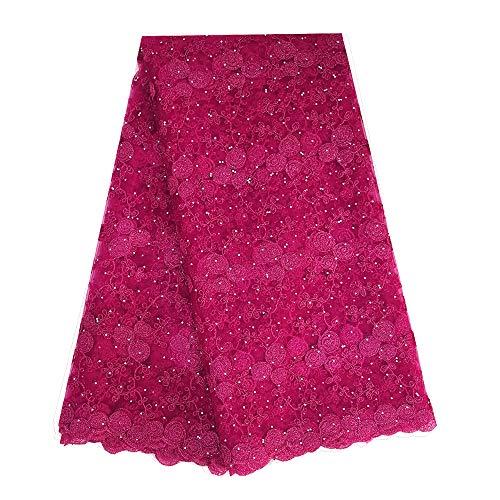 African lace Fabric 5 Yards Wholesale French lace Fabrics Rich Stones lace Fabric ZS764 (Fushia Pink)