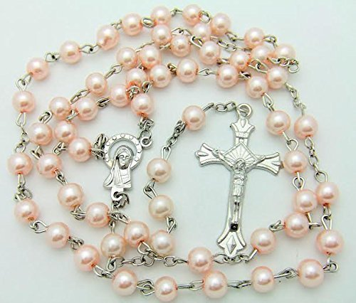 Catholic Rosary, Great for Women or Girls. Miraculous Pink Glass Beads with Metal Crucifix by CB Catholic