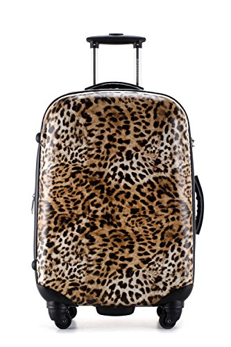 Ambassador Luggage Skin Series Leopard Print Expandable Suitcase 20 Inch Carry On