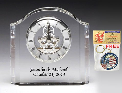 (Etched Crystal Contour Arch Table Mantel Clock with Black Text Etching Colorfill. Clock As Anniversary Wedding Gift Employee Service Recognition Award Appreciation Gift Retirement Present)