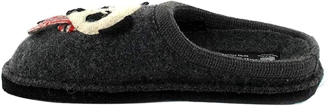 HAFLINGER Women's Boiled Wool Motif Slippers Flair Panda, Anthracite