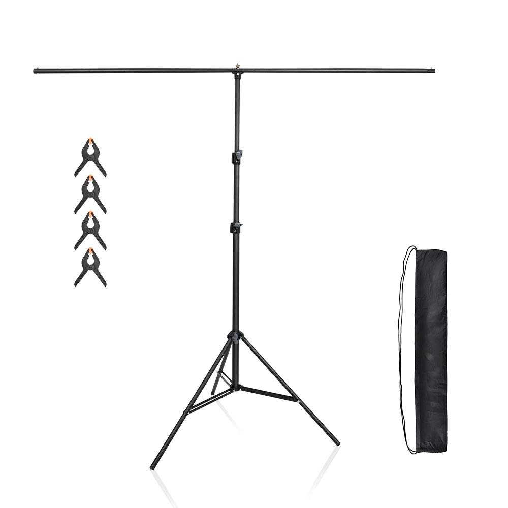 UTEBIT 7x5ft/1.5x2m Photography T-Shaped Backdrop Stand Support System Kit Background Tripod for Photographic Studio or Video with 4 Pack Heavy Duty Clamps and Carrying Bag(Backdrop is not Included)