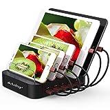 Asltoy USB Charging Station 5 Port Charging Dock Desktop Multiple USB Charger Station Organizer