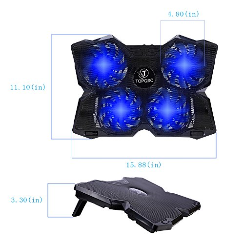 TOPQSC Cooling Fans, New Laptop Cooling Pad for Gaming, Ultra-Portable Laptop Cooler for 15.6 Inch -17 inch Notebooks with 4 Fans 120mm - Black & Blue by TOPQSC (Image #3)