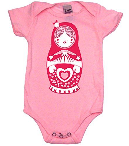 Matryoshka Doll Cute Bodysuit Baby Girl and Baby Boy Clothes, 3-6 MO, Pink