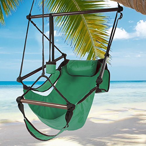Best Choice Products Hammock Hanging Chair Air Deluxe Sky Swing Outdoor Chair Solid Wood 250lb Green (Hanging Outdoor Swing)