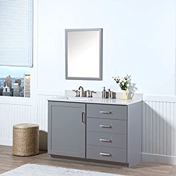 MAYKKE Sterling 48 Inch Bathroom Vanity Set in Birch Wood Light Grey  Finish, Gray Bathroom