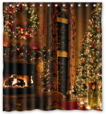 Unique Custom Peaceful Christmas Eve Fireplace Waterproof fabric Polyester Shower Curtain 66″X72″-Bathroom Decor