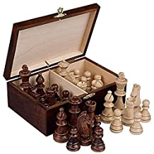 Wooden Staunton Chess Pieces with Wooden Box