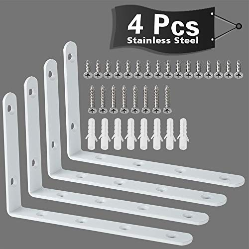Alise 6x4 Inch Shelf Bracket Stainless Steel Brackets Heavy Duty Corner Brace Support Wall Hanging,4 Pcs Bright White Finish ()