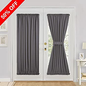 Gray Blackout French Door Curtain - PONY DANCE Thermal Insulated Rod Pocke Door Panel for Patio & Amazon.com: RHF Blackout French Door Curtains - Thermal Insulated ... Pezcame.Com