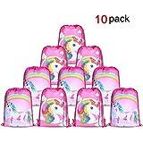 Konsait Unicorn Bags for Unicorn Party Supplies Drawstring Shoulder Backpack Bag Bulk