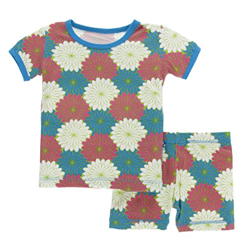 Girls Print Short Sleeve Pajama Set with Shorts, Tropical Flowers, 3T ()