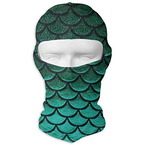 (Green Pastel Mermaid Fish Scale Balaclava Winter Face Mask Men & Women Windproof Multifunctional Beanie Hat Sports Snowboard Ski Mask Hat Scarf Durable Neck Gaiter Protection)