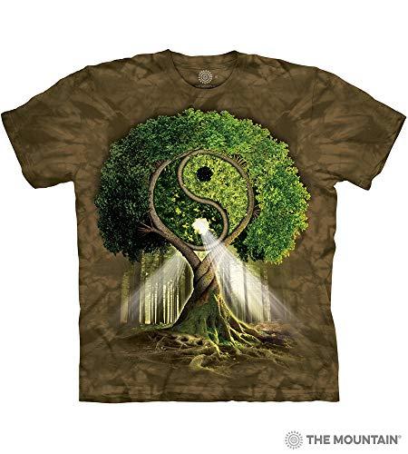 (The Mountain Yin Yang Tree Adult T-Shirt, Green, Medium)
