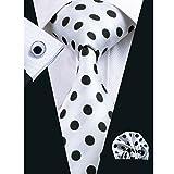 Hi-Tie Mens Stylish Polka Dots Silk Tie Hanky Cufflinks set