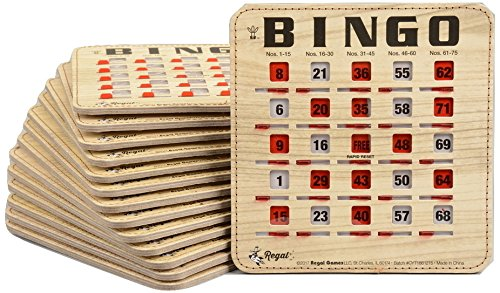 Regal Games 200 Extra Thick Stitched Woodgrain Quick Clear Rapid Reset Shutter Bingo Cards With Big Tabs (200 Pack)