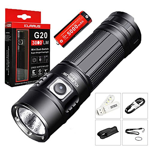 SKYBEN Klarus G20 3000 Lumens CREE Next Gen. XHP70 N4 LED USB Rechargeable Flashlight Dual-Switch Tactical Search Light with Battery,Holster,O-Ring USB Light