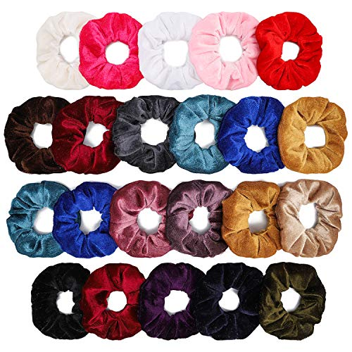 Grobro7 22Pcs Velvet Hair Scrunchies Colorful Elastic Scrunchy Hair Bands Bobbles Hair Ring Soft Plush Hair Tie Ponytail Holder for Women More Than 18 Colors Hair Ropes ()