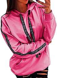 FEDULK Plus Size Hoodie Sweatshirt for Women, Drawstring Long Sleeve Hooded Pullover Jumper S-5XL