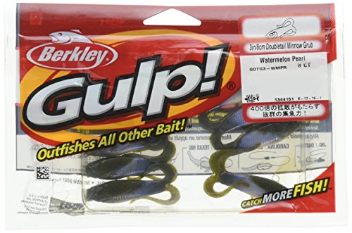 (Berkley Gulp Double Tail Minnow Grub Watermelon Pearl Fishing Bait, Multi, 3