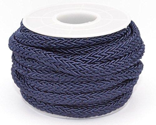 5 Meter Rolle - Nylon Band - Segelseil-Optik - geflochten - 7x5 mm - Farbe: dunkelblau