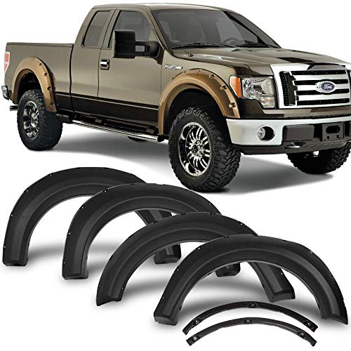 Fender Flares Fits 2009-2014 Ford F150 | Pocket Rivet Style OEM Matte Black Finish PP Front Rear Right Left Wheel Cover Protector Vent Trim by IKON MOTORSPORTS